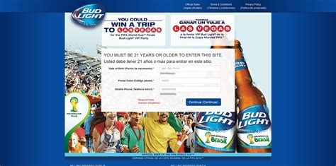 Sweepstakes Eligibility - budlight com brazil2014 bud light fifa world cup sweepstakes