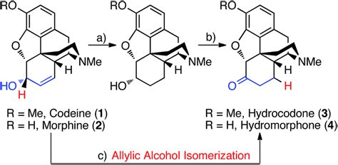 Hydrocodone Sysnthesis by Transition Metal Catalyzed Redox Isomerization Of Codeine