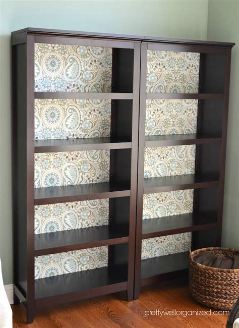 Decoupage Bookcase - decoupage bookcase with fabric mod podge rocks