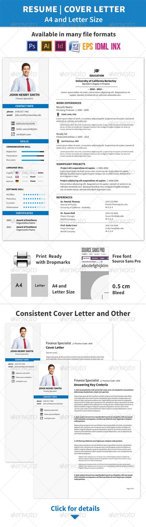 resume and cover letter a4 and letter sizes letter