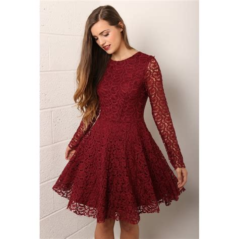 Spoon Fashion Maroon maroon lace dress with sleeves oasis fashion
