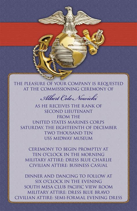 Marine Corps Count Cards Template by Commissioning Invitation Go Navy Marines