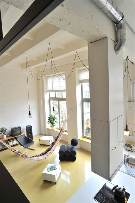 Living Room Integrated Kitchen Factory Loft With An Integrated Hammock And A Mezzanine
