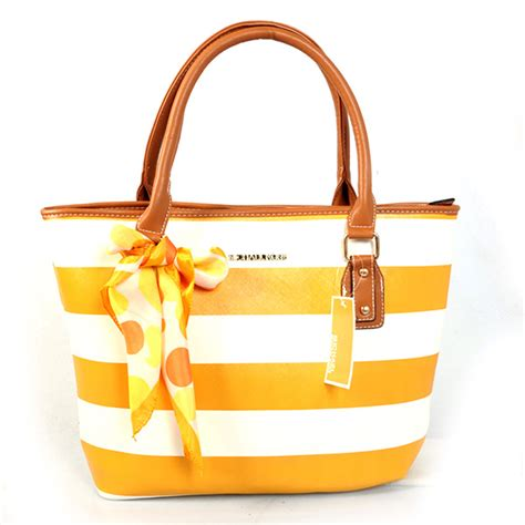 Selendang Michael Kors Original Mk Stripes Scarf Pink michael kors scarf striped medium yellow tote