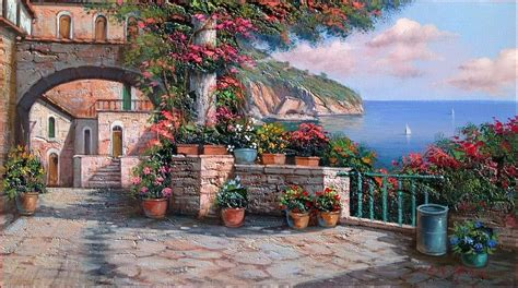 Lake House Plans amalfi coast house balcony painting by ernesto di michele