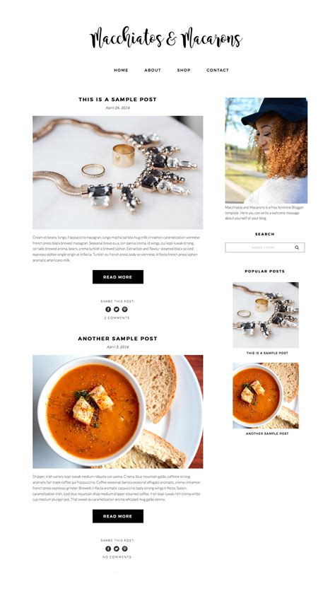 blogspot themes shop free feminine blogger template macchiatos macarons