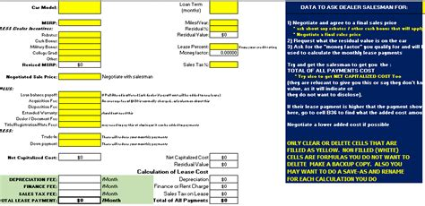 Auto Lease Calculator Spreadsheet by Car Lease Calculator