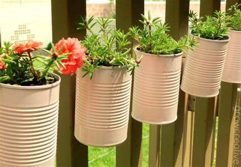 Tin Can Planters grow creative vertical tin can planters tutorial