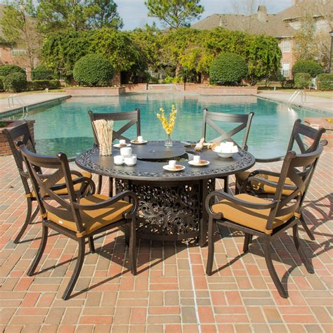 Firepit Table Set Avondale 6 Person Cast Aluminum Patio Dining Set With Pit Table