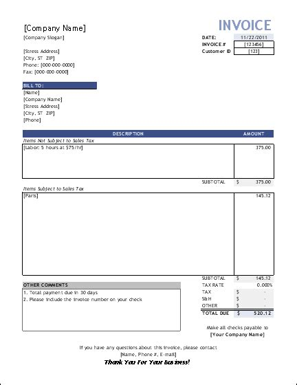 invoice template for builders free construction time and material forms invoice