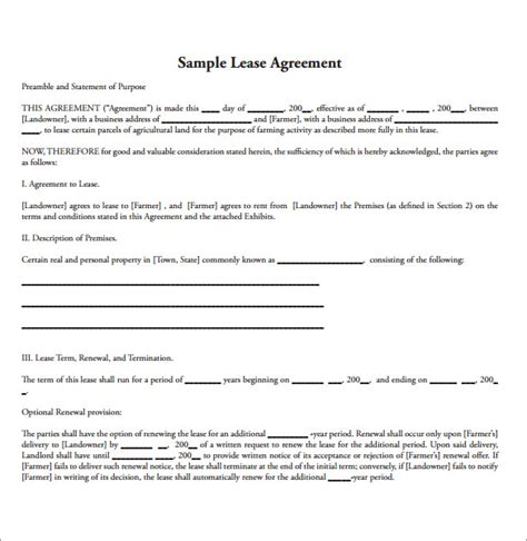 Land Rental Contract Template by 15 Land Lease Agreements Sles Exles Format