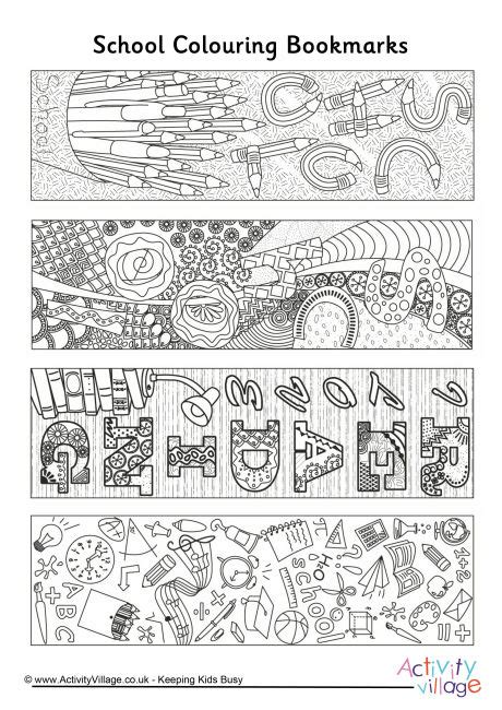 printable bookmarks activity village school doodle colouring bookmarks