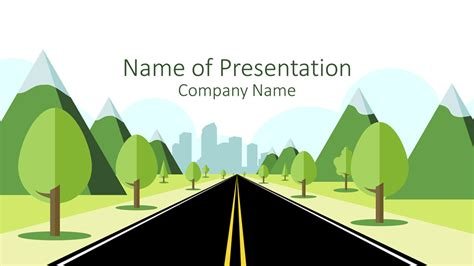 Road To City Powerpoint Template Presentationdeck Com Road Powerpoint Template