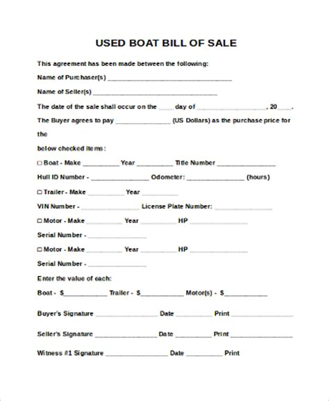 how to write a boat bill of sale how to write bill of sale for boat bill of sale form