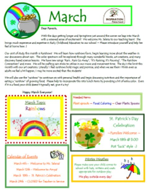 march newsletter inspiration preschool