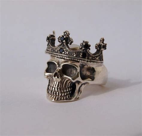 Handmade Skull Rings - crown skull ring solid 925 sterling silver handmade