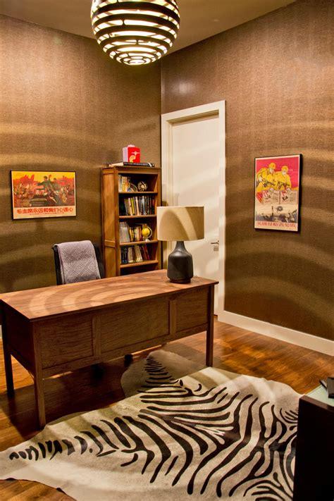 brown home office  hanging globe lamp zebra print rug