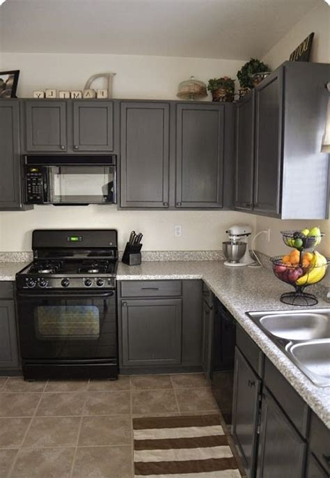Grey Kitchen Cabinets With Black Appliances Kitchens With Grey Painted Cabinets Painting Kitchen Cabinets Before And After Home Ideas