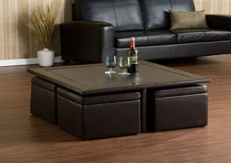 Coffee Table With Ottoman Underneath Compact And Complete Coffee Table With Ottomans