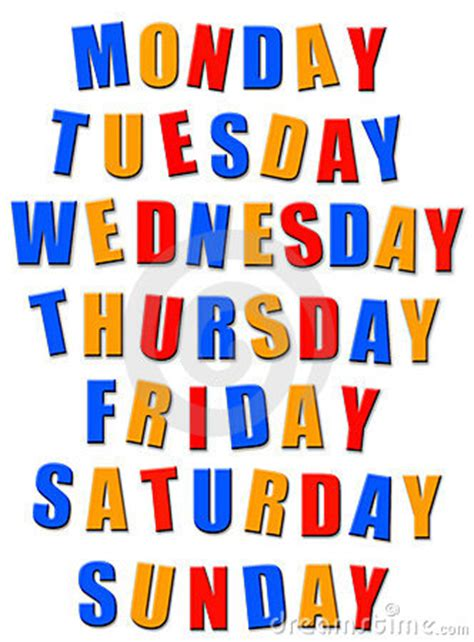 week name of days is with days of the week