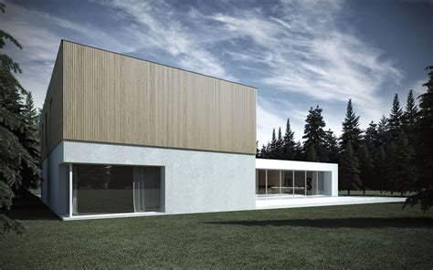 minimal architecture minimalist shape with wooden verticals on the elevations