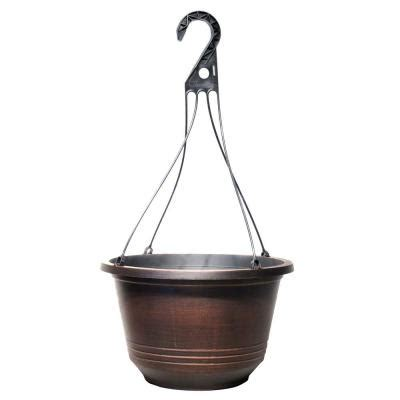 Home Depot Hanging Ls by 12 5 In Warm Copper Plastic Torino Hanging Basket Hg333d