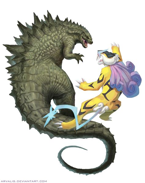 godzilla vs raikou by arvalis on deviantart