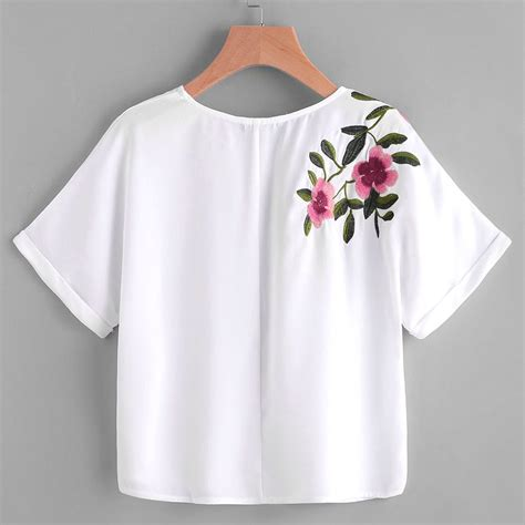 Flower Sleeve T Shirt aliexpress buy flower embroidery shirt