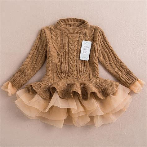 Princess Tutu Jumper 2015 autumn winter knit sweater dresses baby tulle lace tutu winter jumper pullover