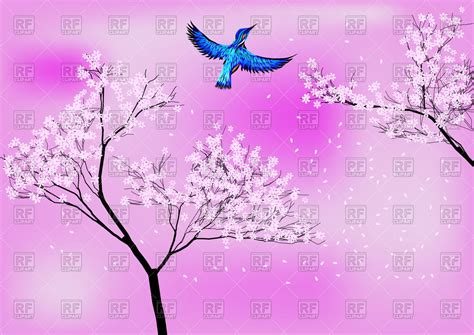 japanese blossom tree japanese background with blossom tree and blue bird vector