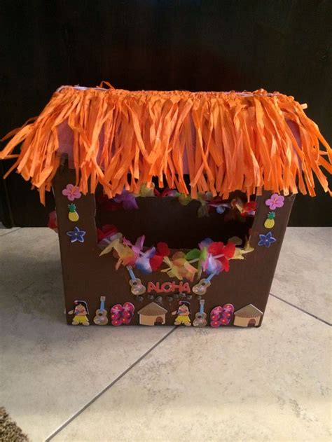 this is my daughter s tiki hut valentine s box for school - Tiki Hut Valentine Box