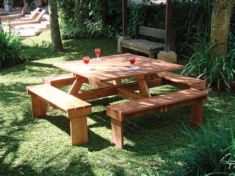 square picnic table with 4 square hardwood picnic table