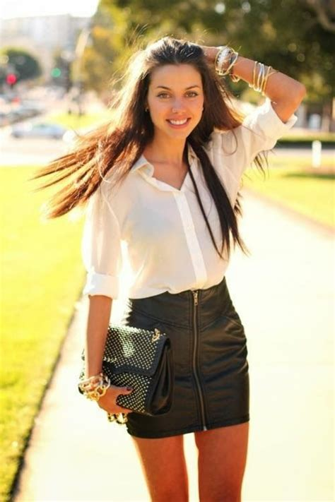 white shirt with black leather skirt clothes