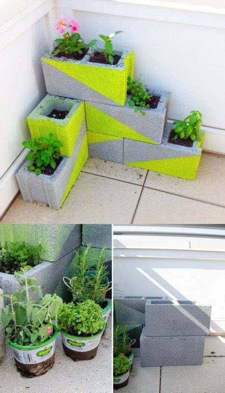 cinder blocks recycled  modern planters  gardens