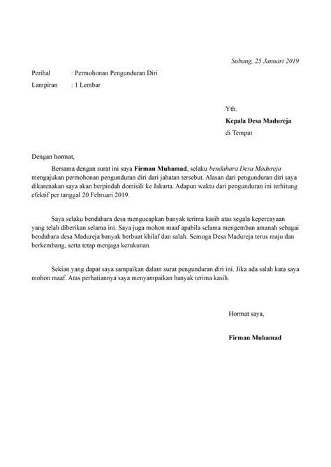 contoh surat pengunduran diri bendahara yang baik dan