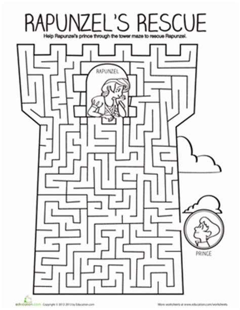 printable maze worksheets for kindergarten tower maze worksheet education com
