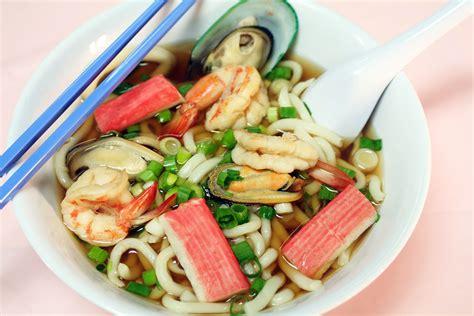 Seafood Udon Soup noodles the bowl