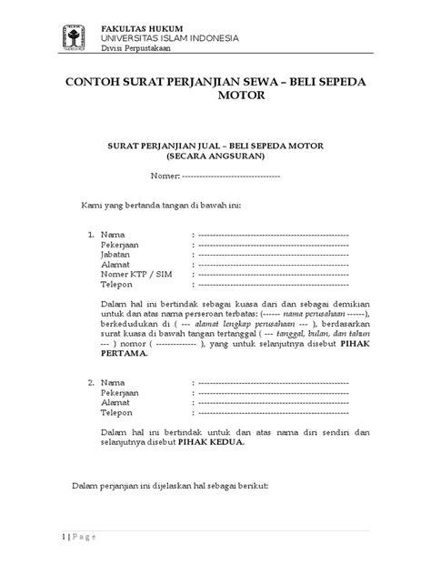 Contoh Surat Jual Beli Motor Doc - Kumpulan Surat Penting