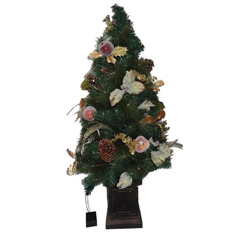 prelit battery operated potted christmas tree home accents 4 ft battery operated feathers and fruit potted artificial porch