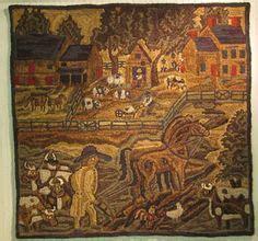 lisanne miller rug hooking rug hooking houses landscape pictoral on rug hooking hooked rugs and rugs