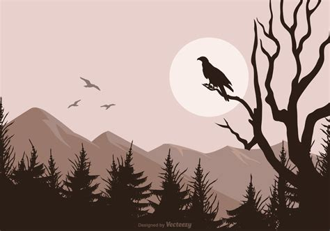 silhouette background buzzard silhouette isolated on vector landscape background