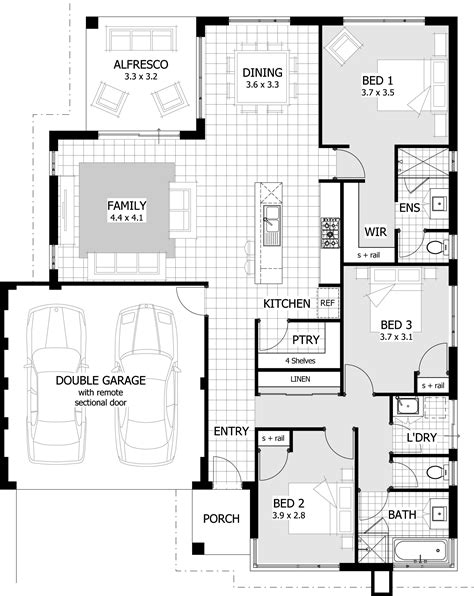 simple floor plan three bedroom house