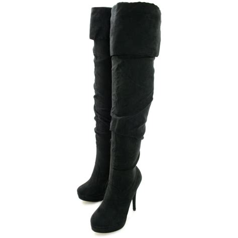 buy heeled slouch platform thigh high boots