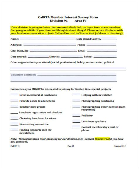 45 Exles Of Survey Forms Sle Templates Membership Surveys Templates