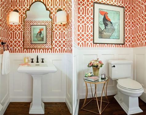 orange white room cheerful enliven your powder room with a splash of orange interior designing info