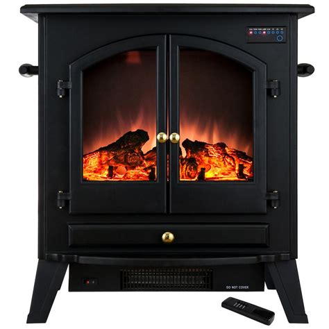 Electric Stove Fireplace Akdy 25 In Freestanding Electric Fireplace Stove Heater In Black With Vintage Glass Door And