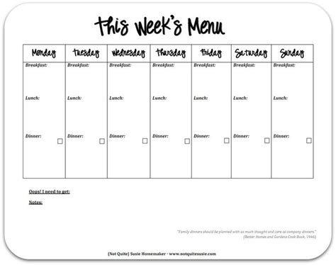 12 Best Menu Template Images On Pinterest Meal Plan Templates Menu Planners And Meal Planner Free Printable Lunch Menu Template