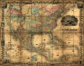 united states and mexico 1857 wall map mural