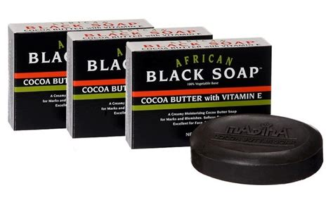 Madina Black 3in1 1 madina black soap with cocoa butter and vitamin e 6 pack groupon