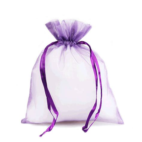 purple organza drawstring pouches 10 pouches